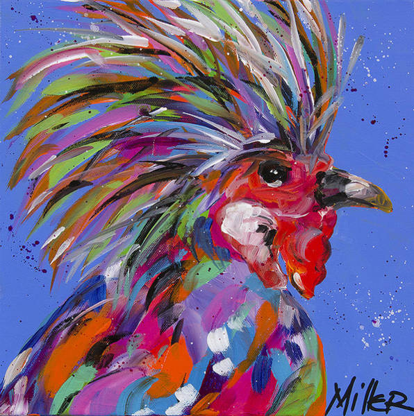 Barnyard Animal Painting - Cock A Doodle by Tracy Miller
