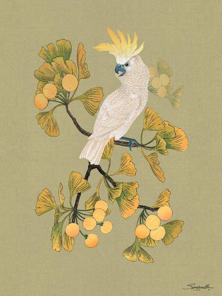 Wall Art - Digital Art - Cockatoo And Ginkgo Tree by M Spadecaller