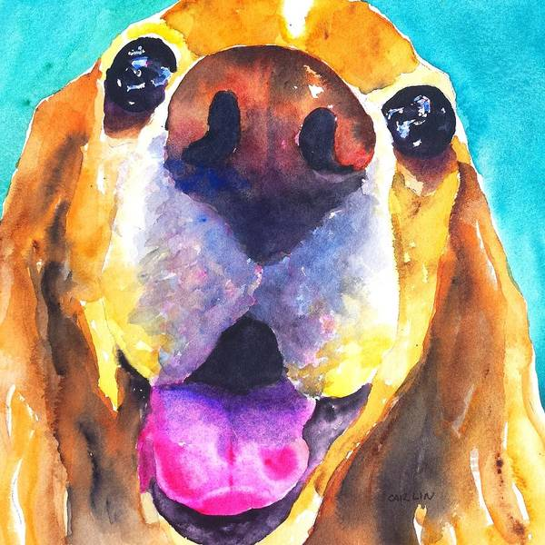 Pedigree Painting - Cocker Spaniel Dog Smile by Carlin Blahnik CarlinArtWatercolor