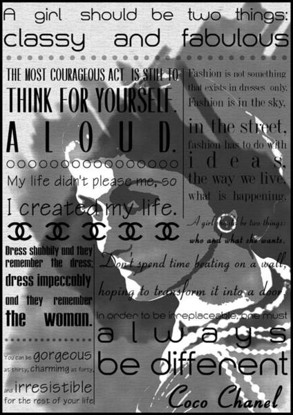 Boudoir Digital Art - Coco Chanel Inspirational Motivational Independent Quotes 2 by Diana Van