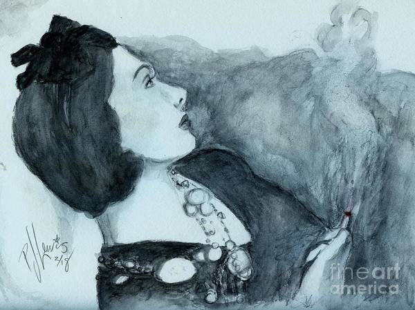 Wall Art - Drawing - Coco Smoking by PJ Lewis