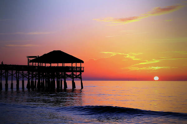Photograph - Cocoa Beach Pier's New Tiki Hut Sunrise by Carol Montoya
