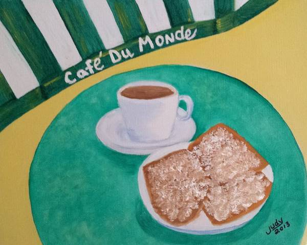 Doughnut Painting - Coffee And Beignets by Judy Jones