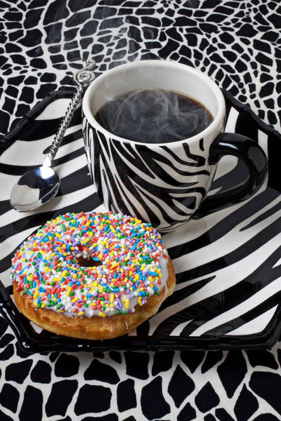 Platter Photograph - Coffee And Donut On Striped Plate by Garry Gay
