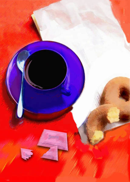 Doughnut Painting - Coffee And Donuts Irony by Elaine Plesser