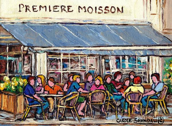Painting - Coffee At Premiere Moisson Open Air Terrace Rue Bernard Original Paris Style Cafe Art Carole Spandau by Carole Spandau
