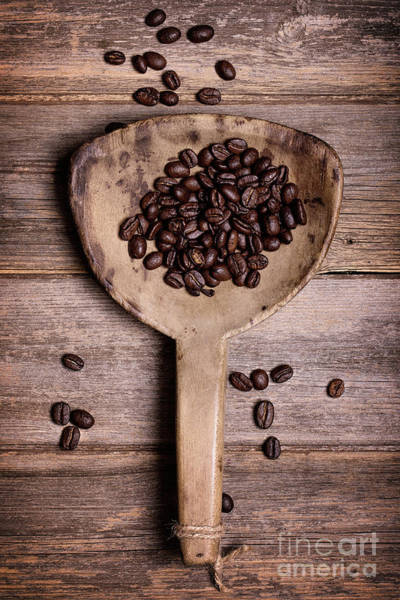 Wall Art - Photograph - Coffee Beans In Antique Scoop. by Jane Rix