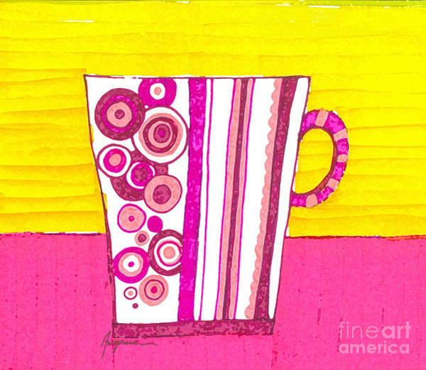 Digital Art - Coffee Cup - Teacup - Pink Circle And Lines Modern Design Illustration Art by Patricia Awapara