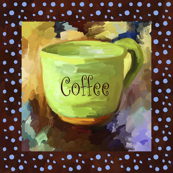 Wall Art - Painting - Coffee Cup With Blue Dots by Jai Johnson