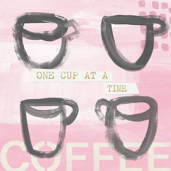 Wall Art - Mixed Media - Coffee Cups Pink- Art By Linda Woods by Linda Woods