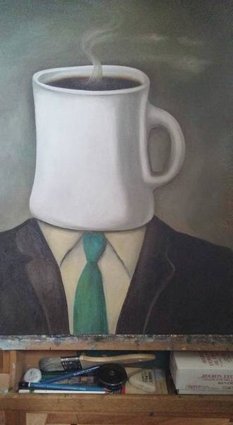 Painting - Coffee Head 1 Wip by Leah Saulnier The Painting Maniac