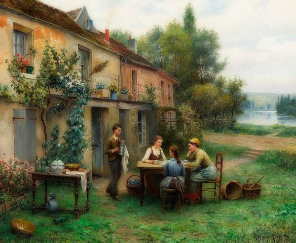 Wall Art - Painting - Coffee In The Garden by Daniel Knight