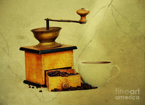 Old Wall Art - Photograph - Coffee Mill And Cup Of Hot Black Coffee by Michal Boubin