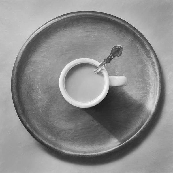 Silver Photograph - Coffee On A Wooden Tray by Scott Norris