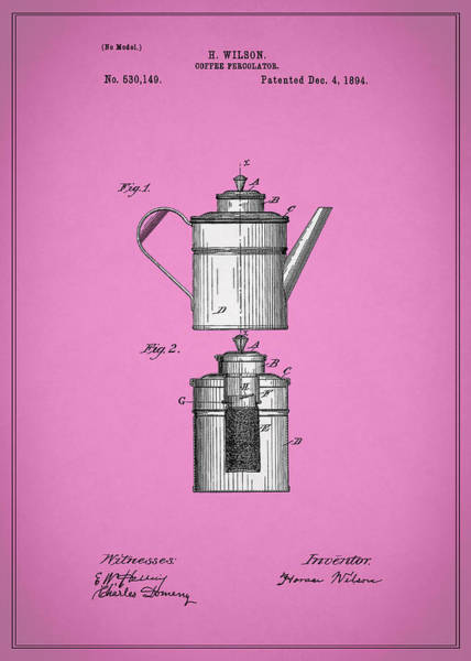 Wall Art - Photograph - Coffee Percolator Patent 1894 by Mark Rogan