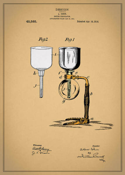 Wall Art - Photograph - Coffee Percolator Patent 1914 by Mark Rogan