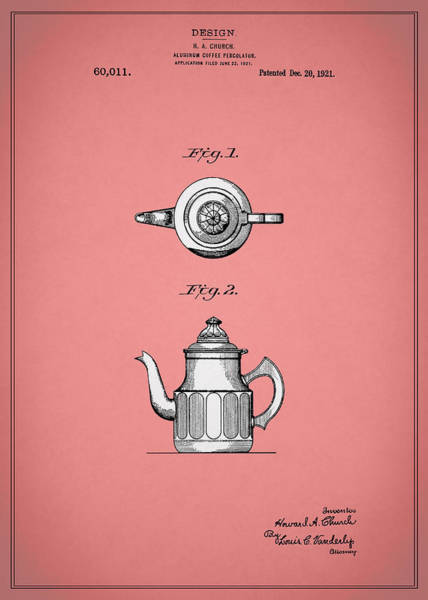 Wall Art - Photograph - Coffee Percolator Patent 1921 by Mark Rogan