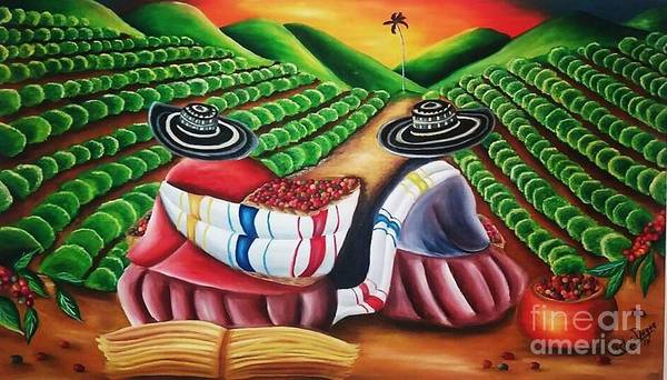 Wall Art - Painting - Coffee Plantation Colombia by Carlos Duque