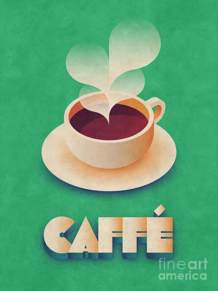 Restaurant Digital Art - Coffee Retro - Green by Ivan Krpan