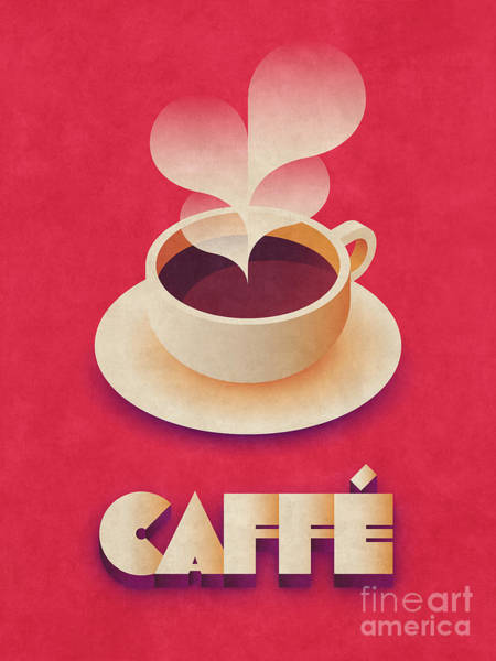 Restaurant Digital Art - Coffee Retro - Red by Ivan Krpan
