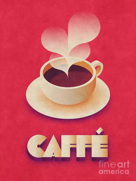 Caffe Wall Art - Digital Art - Coffee Retro - Red by Ivan Krpan