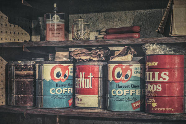 Shelves Photograph - Coffee Tins All In A Row by Scott Norris