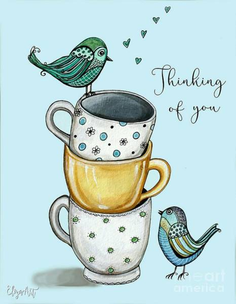 Painting - Coffee With The Birds by Elizabeth Robinette Tyndall
