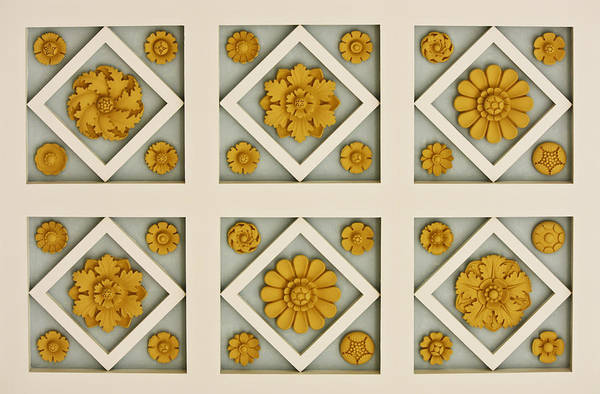 J Paul Getty Photograph - Coffered Ceiling Detail At Getty Villa by Teresa Mucha