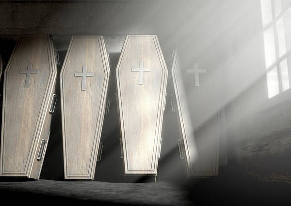 Buried Wall Art - Digital Art - Coffin Row In A Room by Allan Swart