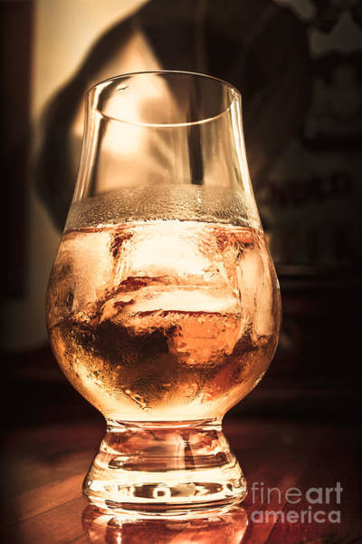 Glossy Photograph - Cognac Glass On Bar Counter by Jorgo Photography - Wall Art Gallery