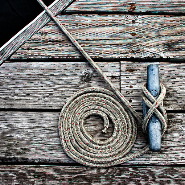 Cleat Wall Art - Photograph - Coiled Mooring Line And Cleat Square Version by Carol Leigh