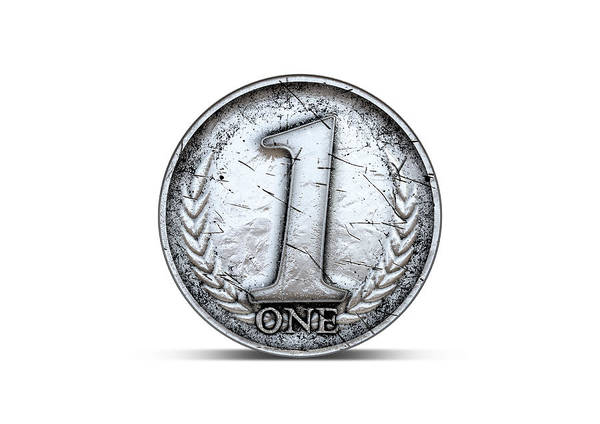 Number One Wall Art - Digital Art - Coin Number One by Allan Swart