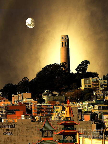 Photograph - Coit Tower And The Empress Of China Under The Golden Moonlight by Wingsdomain Art and Photography