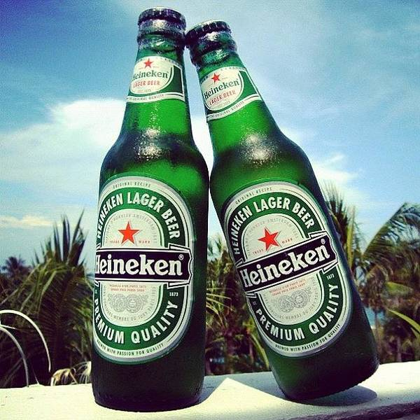 Beer Wall Art - Photograph - #cold #beer #heineken #bottle #couple by Stan Chashchnikov