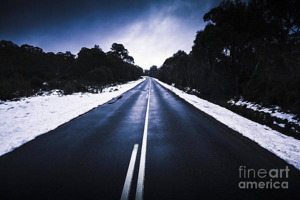 Thoroughfare Photograph - Cold Blue Highway by Jorgo Photography - Wall Art Gallery