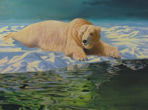 Food Chain Painting - Cold Brew  Polar Bear by Mike Stockwell