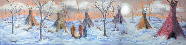 Indian Camp Painting - Cold Encampment by Jerry McElroy