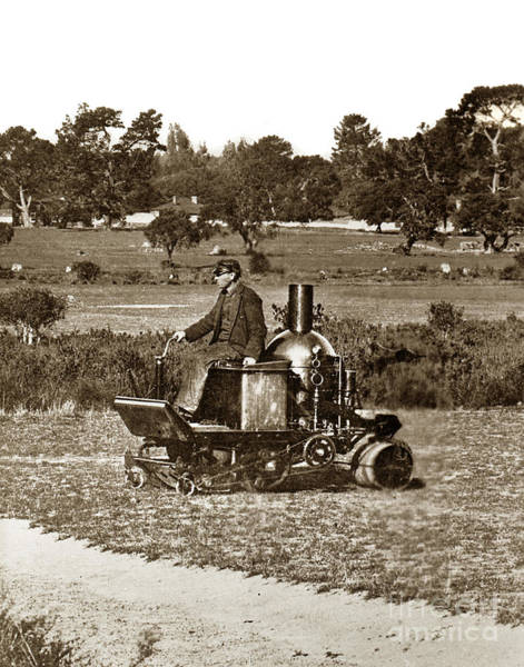 Photograph - Coldwell Steam Powerd Lawn More And Roller Circa 1902 by California Views Archives Mr Pat Hathaway Archives