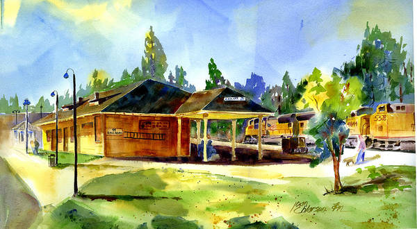Painting - Colfax Rr Depot by Joan Chlarson