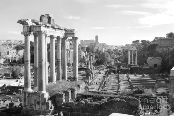 Photograph - Colisseum From Capitoline Hill In Black And White by Angela Rath