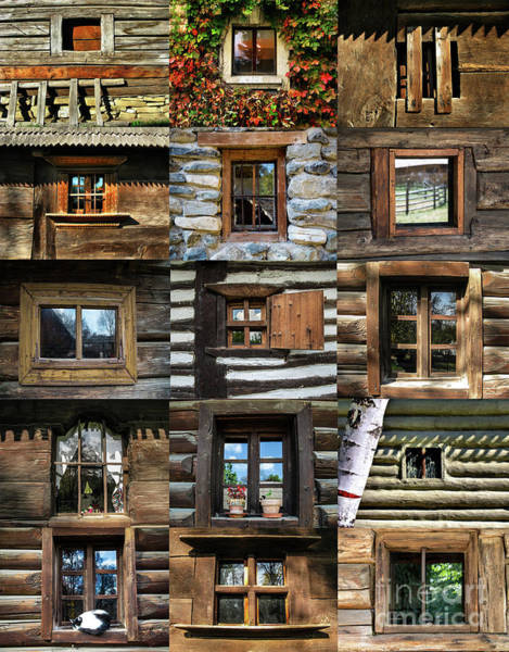 Photograph - Collage From Handmade Traditional Wooden  Windows In Village Museum Bucharest by Daliana Pacuraru