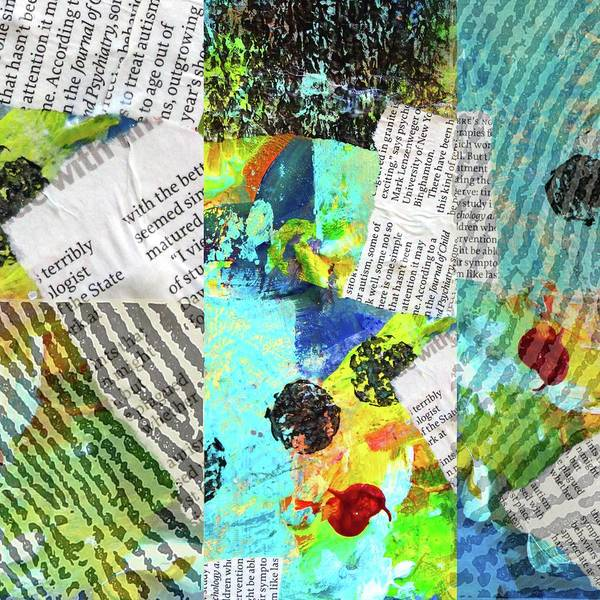 Teal Mixed Media - Collage No 11 by Nancy Merkle