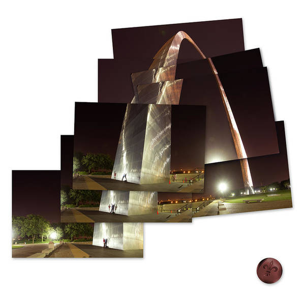 Photograph - Collage Of Gateway Arch At Night by Garry McMichael