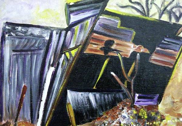 Leclair Painting - Collapsing Barn by Suzanne  Marie Leclair