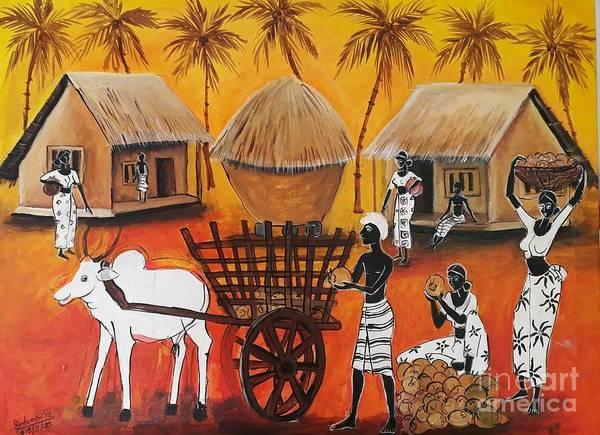 Wall Art - Pastel - Collecting Coconut by Sudumenike Wijesooriya