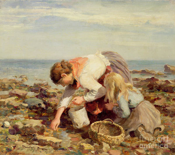 Sunday Painting - Collecting Shells  by William Marshall Brown