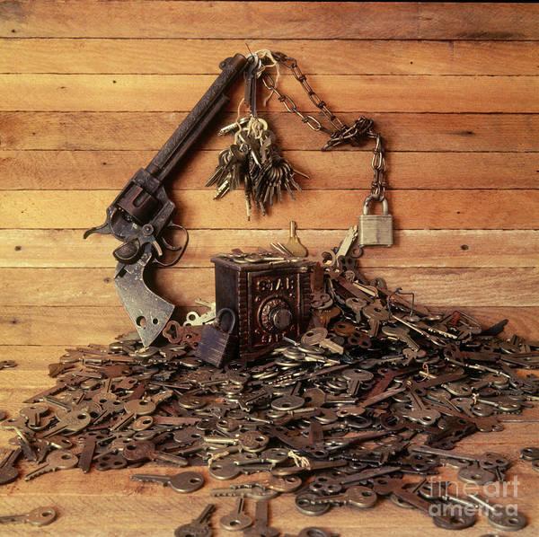 Wall Art - Photograph - Collection Of Antique Safe, Keys, Locks, Chain And Cap Gun. Lincoln Nebraska Ne Usa by Steve Skjold