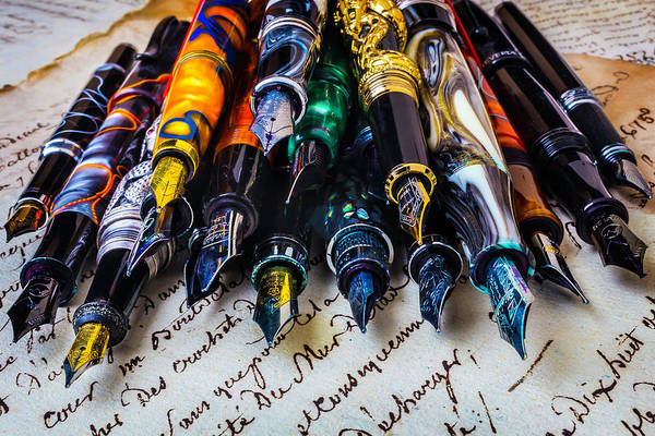 Ink Pen Photograph - Collection Of Fountain Pens by Garry Gay