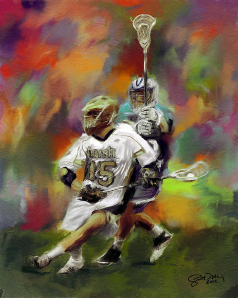Notre Dame Painting - College Lacrosse 13 by Scott Melby