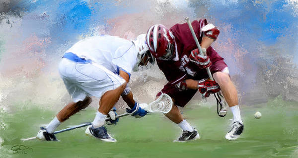 Colgate Wall Art - Painting - College Lacrosse Faceoff 4 by Scott Melby